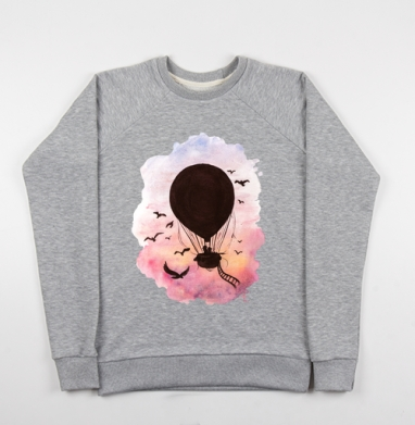 Воздушный шар на закате - Купить мужские свитшоты с акварелью в Москве, цена мужских свитшотов с акварелью  с прикольными принтами - магазин дизайнерской одежды MaryJane
