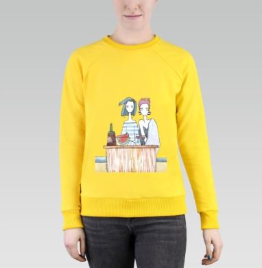 Подруги три - Cвитшот женский, желтый 240гр, тонкий, Популярные