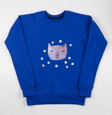 Котик и шары - Cвитшот женский, синий 320гр, стандарт, Популярные