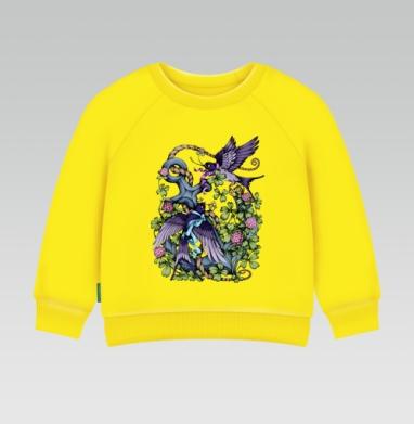 Ласточки, Cвитшот Детский желтый 240гр, тонкая