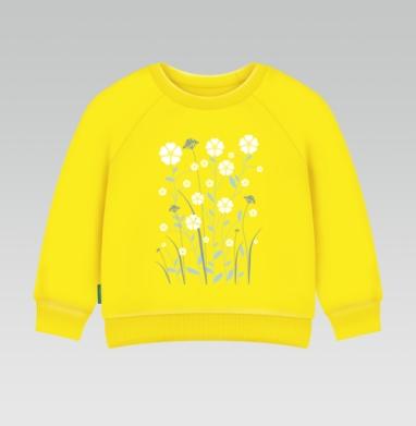 Cвитшот Детский желтый 240гр, тонкая - Лен