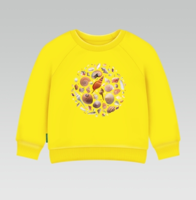 Cвитшот Детский желтый 240гр, тонкая - Ракушки