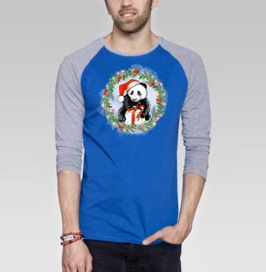 Новогодняя Панда - Футболка мужская с длинным рукавом синий / серый меланж, Мило