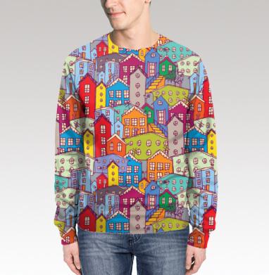 Яркие домики, Свитшот мужской 3D