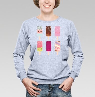 Мороженое - пломбир, эскимо на палочке. Полная запечатка - Купить детские свитшоты паттерн в Москве, цена детских свитшотов с паттерном  с прикольными принтами - магазин дизайнерской одежды MaryJane