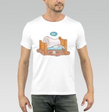 КОФЕ В ПОСТЕЛЬ - Купить мужские футболки с едой в Москве, цена мужских футболок с едой  с прикольными принтами - магазин дизайнерской одежды MaryJane