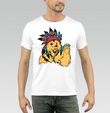 Медведь индеец - Купить мужские футболки с индейцами в Москве, цена мужских футболок с индейцами  с прикольными принтами - магазин дизайнерской одежды MaryJane