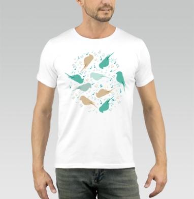 Музыка птиц - Купить мужские футболки паттерн в Москве, цена мужских футболок с паттерном  с прикольными принтами - магазин дизайнерской одежды MaryJane