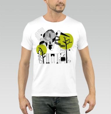 Прогулка - Купить мужские футболки абстрактные в Москве, цена мужских футболок абстрактных  с прикольными принтами - магазин дизайнерской одежды MaryJane