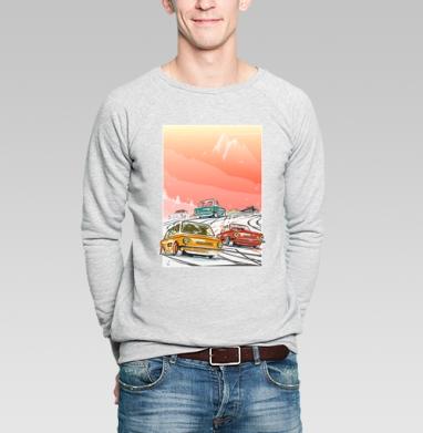 Ралли винтаж зимнее утро - Свитшот мужской серый-меланж  320гр, стандарт