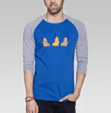 Жёлтая такса - Футболка мужская с длинным рукавом синий / серый меланж, Символ