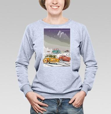 Ралли винтаж зимняя ночь - Купить женские свитшоты с автомобилями в Москве, цена женских свитшотов с автомобилями  с прикольными принтами - магазин дизайнерской одежды MaryJane