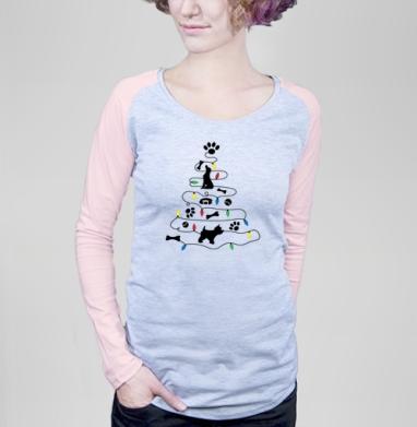 Собачий Новый год - Футболка женская с длинным рукавом серый меланж/розовая