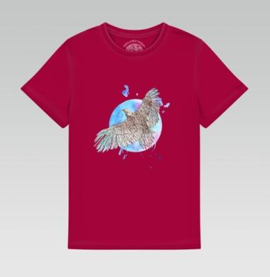 Детская футболка темн. красная 160гр - Летящий орёл