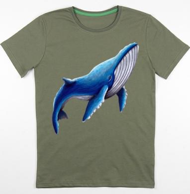 Синий кит, Футболка мужская хаки 180гр