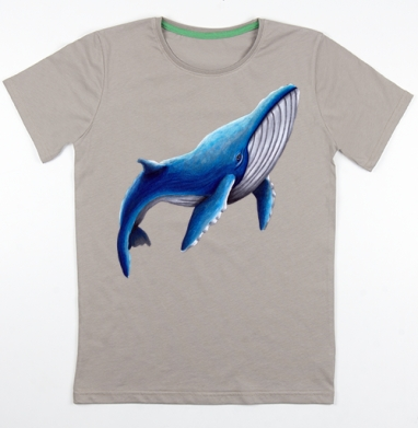 Синий кит, Футболка мужская св. коричневый 180гр