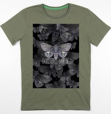 Бабочка готика, Футболка мужская хаки 180гр