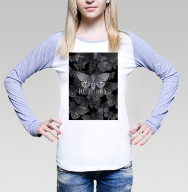 Бабочка готика, Футболка лонгслив женская бело-серая