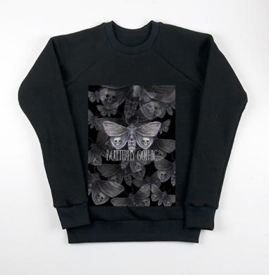 Бабочка готика, Свитшот мужской черный 340гр, теплый