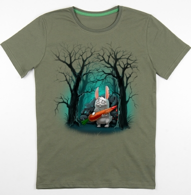 Кролик с морковкой, Футболка мужская хаки 180гр