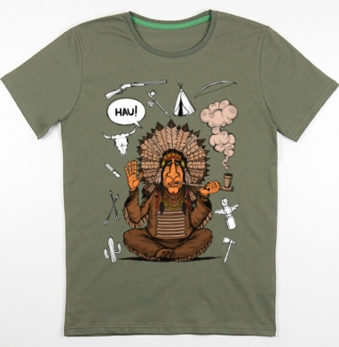 Вождь индейцев, Футболка мужская хаки 180гр