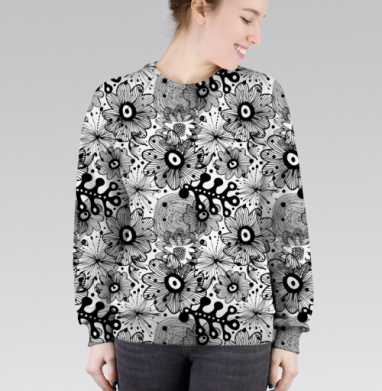 Cвитшот женский 3D - Черное кружево