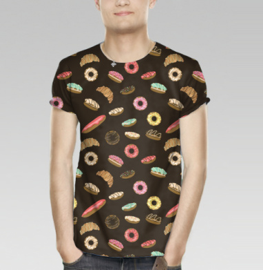 Футболка мужская (полная запечатка) - Пончики