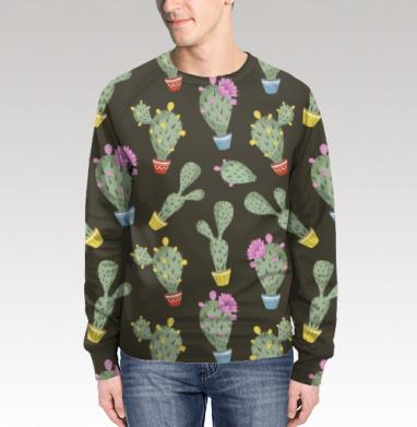 Свитшот мужской без капюшона (полная запечатка) - Цветущие кактусы