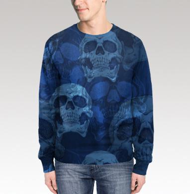 Свитшот мужской 3D - Голодные головы. Синее
