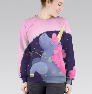 Ежевичный Единорог, Cвитшот женский без капюшона (полная запечатка)