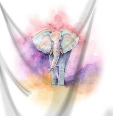 Весенний слон - Печать на ткани