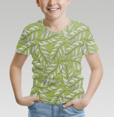Футболка детская (полная запечатка) - Листья паттерн зеленый