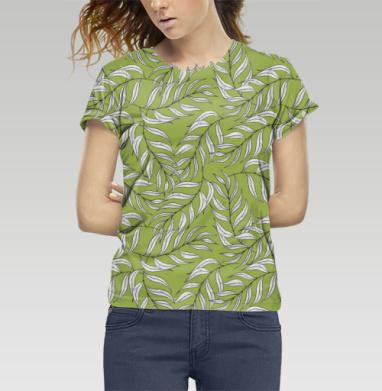 Футболка женская c полной запечаткой - Листья паттерн зеленый