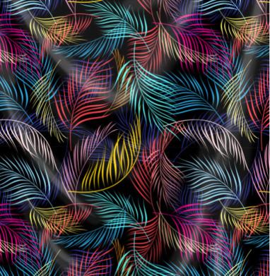 Разноцветные листья пальмы - Печать на текстиле