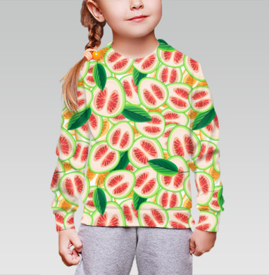 Cвитшот детский без капюшона (полная запечатка) - Цитрусовые кусочки и листочки