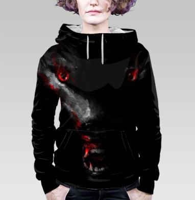 Толстовка женская с карманом 3D - Красный глаз серый волк