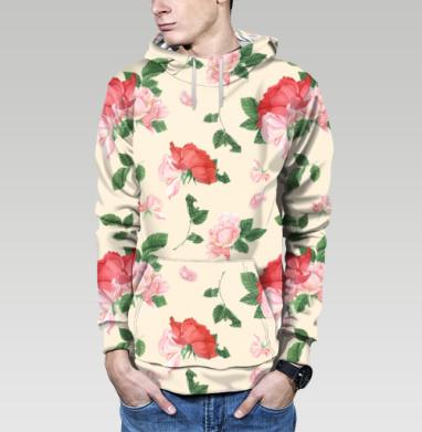 Розовые розы на кремовом фоне, Толстовка мужская с карманом (полная запечатка)