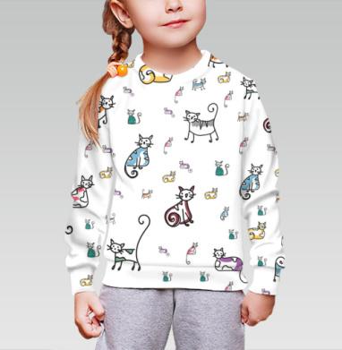 Cвитшот детский без капюшона (полная запечатка) - Для любителей котанов