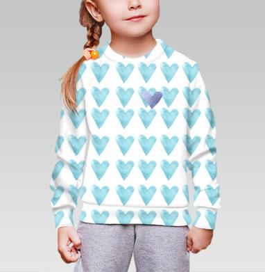 Голубое сердце, Cвитшот детский без капюшона (полная запечатка)