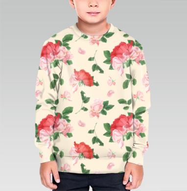 Cвитшот детский без капюшона (полная запечатка) - Розовые розы на кремовом фоне
