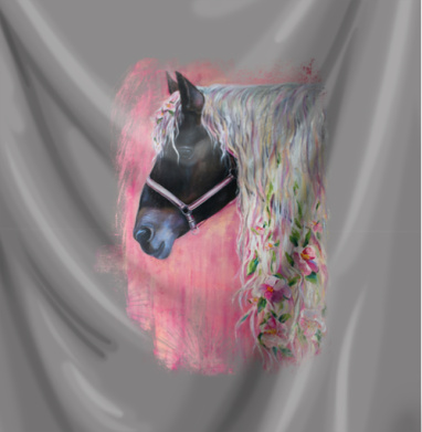 Лошадь с цветами в гриве - живопись, Популярные