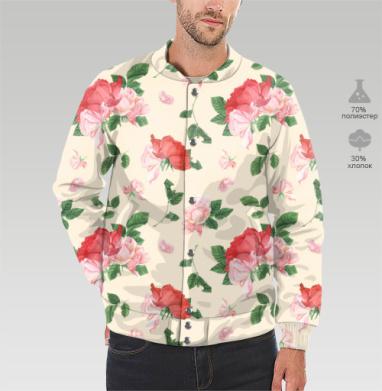 Розовые розы на кремовом фоне, Бомбер мужской 3D