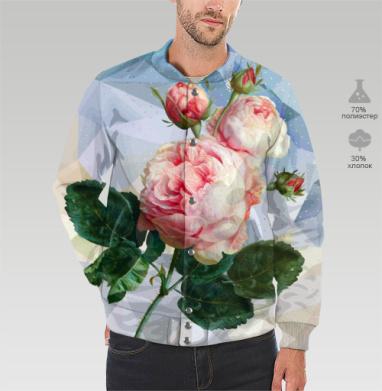 Розовая роза на геометрическом фоне, Бомбер мужской 3D