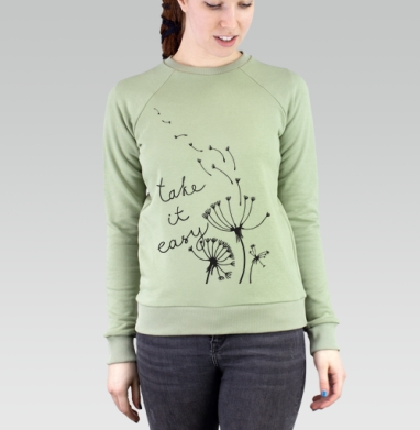 Take it easy!, Cвитшот женский, св. хаки 320гр, стандарт