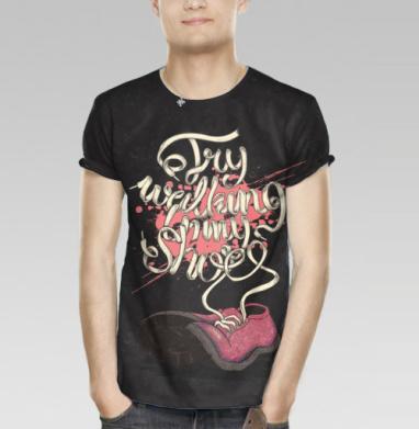 3cceb5301fffa Попробуй пройтись в моих ботинках - Купить мужскую футболку с 3D принтом,  3д футболки с