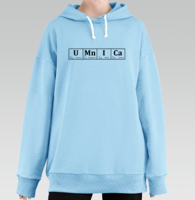 УМНИЦА, Hoodie Long Oversize Blue
