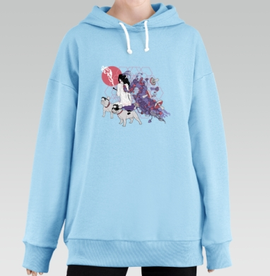 Dogs-guide, Hoodie Long Oversize Blue