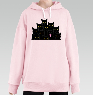 Котики detected, Hoodie Long Oversize Pink, утепленная