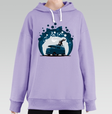 Night Scene '11, Hoodie Long Lavanda, утепленная